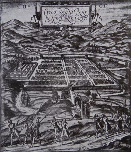 Grabado del siglo XVII de Cuzco, la capital del Imperio inca